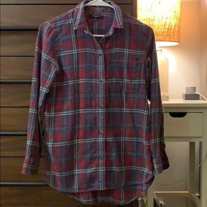 Madewell red/blue Flannel long sleeve shirt